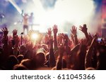 crowd at concert   summer music ... | Shutterstock . vector #611045366