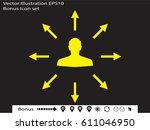 man handing a sign  arrows ... | Shutterstock .eps vector #611046950