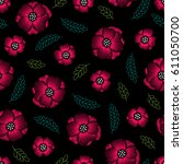embroidery floral seamless... | Shutterstock .eps vector #611050700