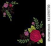 embroidery corner floral... | Shutterstock .eps vector #611050730