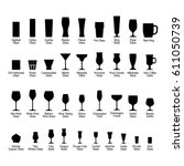 Bar glasses with names, black silhouette icons set, vector illustration