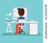 freelancer working at home...   Shutterstock .eps vector #611052158