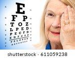 close up face shot of senior... | Shutterstock . vector #611059238