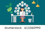 web social network concept for... | Shutterstock .eps vector #611060990