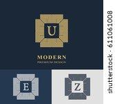 modern logo design. geometric... | Shutterstock .eps vector #611061008
