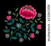embroidery floral pattern with... | Shutterstock .eps vector #611061500