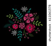 embroidery floral pattern with... | Shutterstock .eps vector #611061578