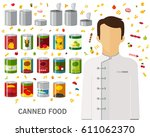 canned food concept background. ... | Shutterstock .eps vector #611062370