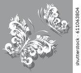 white  butterfly  swirl ...   Shutterstock .eps vector #611063804