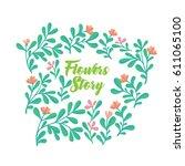 vector set of invitation cards... | Shutterstock .eps vector #611065100