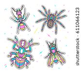 set of fashion insects patches. ... | Shutterstock .eps vector #611066123