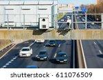 traffic radar with speed... | Shutterstock . vector #611076509