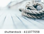 Small photo of rope on a yacht with wooden details