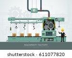 factory industrial machine... | Shutterstock .eps vector #611077820