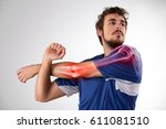 human arm pain. anatomy of the... | Shutterstock . vector #611081510