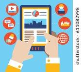 businessman reads the world...   Shutterstock .eps vector #611082998