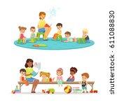 group of preschool kids and... | Shutterstock .eps vector #611088830