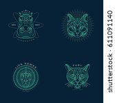 set of thin line animal icons.... | Shutterstock .eps vector #611091140