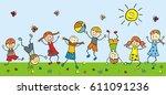 happy kids in meadow  vector...   Shutterstock .eps vector #611091236