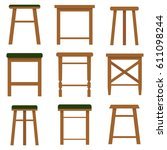 stool  a set of stools. flat... | Shutterstock .eps vector #611098244