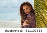 beauty portrait of female face... | Shutterstock . vector #611103518