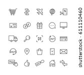 simple black thin line icons... | Shutterstock .eps vector #611110460