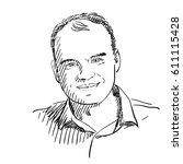 portrait of man with bald spot... | Shutterstock .eps vector #611115428