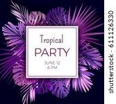 purple neon vector floral... | Shutterstock .eps vector #611126330