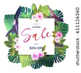 bright green vector floral... | Shutterstock .eps vector #611126360
