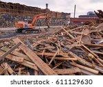 Excavator At Demolition Site...