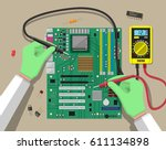 hands of engineer with digital... | Shutterstock .eps vector #611134898