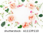 Stock photo floral round frame made of pink roses isolated on white background flat lay top view flowers 611139110