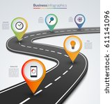 road map infographic template... | Shutterstock .eps vector #611141096
