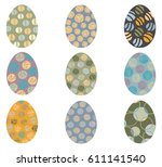 vector easter eggs with... | Shutterstock .eps vector #611141540