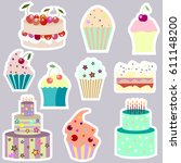 set of vector stickers with... | Shutterstock .eps vector #611148200