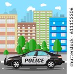 generic police car at cityscape ... | Shutterstock . vector #611153306