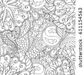 tracery seamless pattern.... | Shutterstock .eps vector #611154563