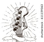 hand draw sketch with bass... | Shutterstock .eps vector #611159363