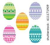 patterned easter eggs | Shutterstock .eps vector #611171909