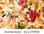 pizza bread with sesame  onions ... | Shutterstock . vector #611174930