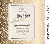 antique baroque luxury wedding... | Shutterstock .eps vector #611175578
