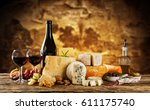 various kind of cheese served... | Shutterstock . vector #611175740