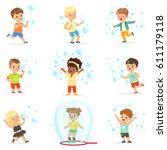 cute little girls and boys... | Shutterstock .eps vector #611179118