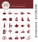 icons silhouettes food and drink | Shutterstock .eps vector #611181260