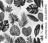 tropical leaves of palm tree ... | Shutterstock .eps vector #611183993