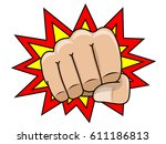 comic fist front view isolated... | Shutterstock .eps vector #611186813