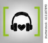 headphones with heart. vector.... | Shutterstock .eps vector #611187890
