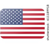 usa flag. official colors and... | Shutterstock .eps vector #611189918