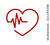 red heart icon with sign... | Shutterstock .eps vector #611194358