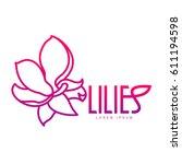 elegant lilies line logo... | Shutterstock .eps vector #611194598